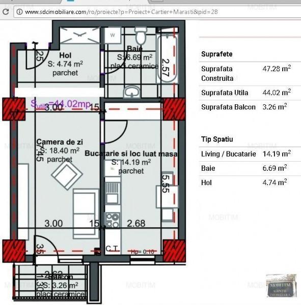 Apartament 2 camere imobil nou cart. Marasti