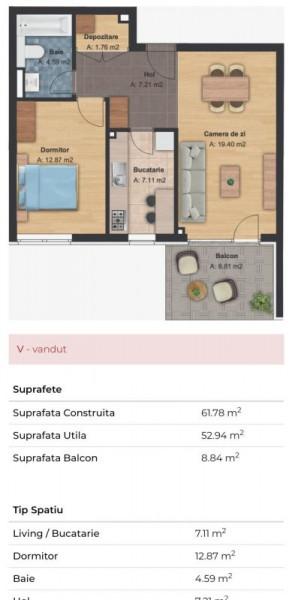 Mobitim vinde apartament 2 camere in Buna Ziua